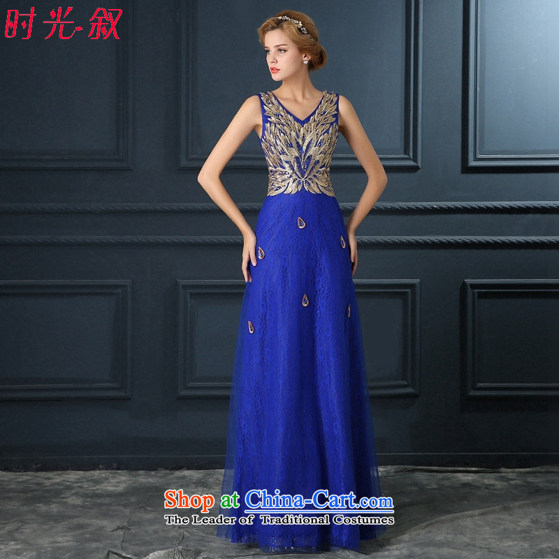 Time for the Diamond blue Syrian terrace shoulders V-Neck back bride bows services bridesmaid wedding dinner of the annual meeting of the persons chairing the performances dress Blue�M