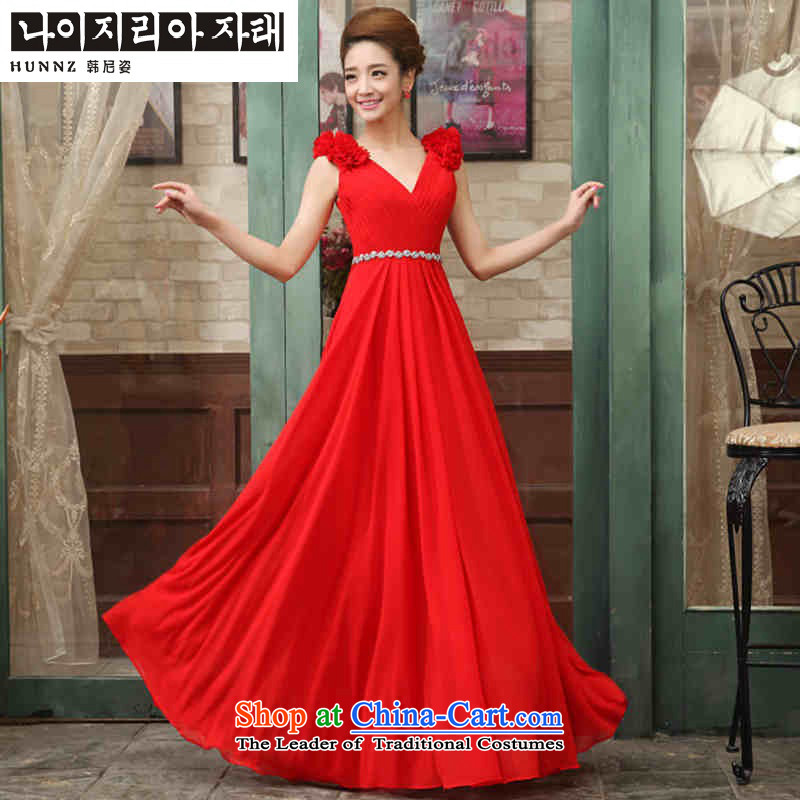 Hannizi 2015 stylish and simple Sau San straps banquet evening dresses bows service bridal dresses red?XXL