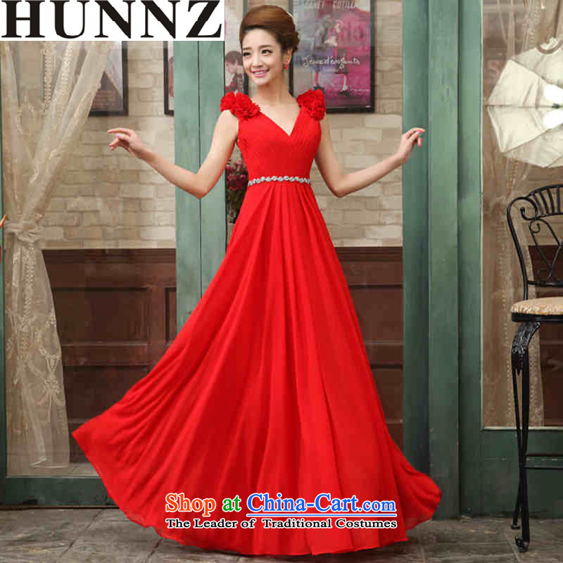 2015 Long dresses HUNNZ trendy straps spring and summer new bride dress banquet evening dresses bows services RED?M