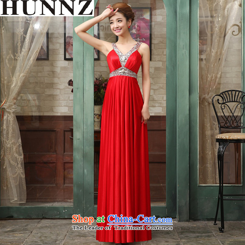 ?     ?Toasting champagne HUNNZ Services 2015 new spring and summer and sexy straps bridal dresses banquet evening dresses bows services red?XL