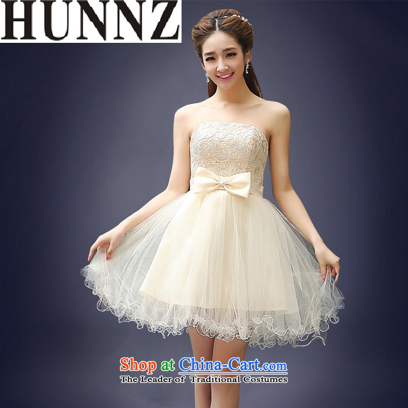 2015 Short of HUNNZ spring and summer straps Korean brides booking wedding-dress and chest lace evening dress bows serving champagne color?XL