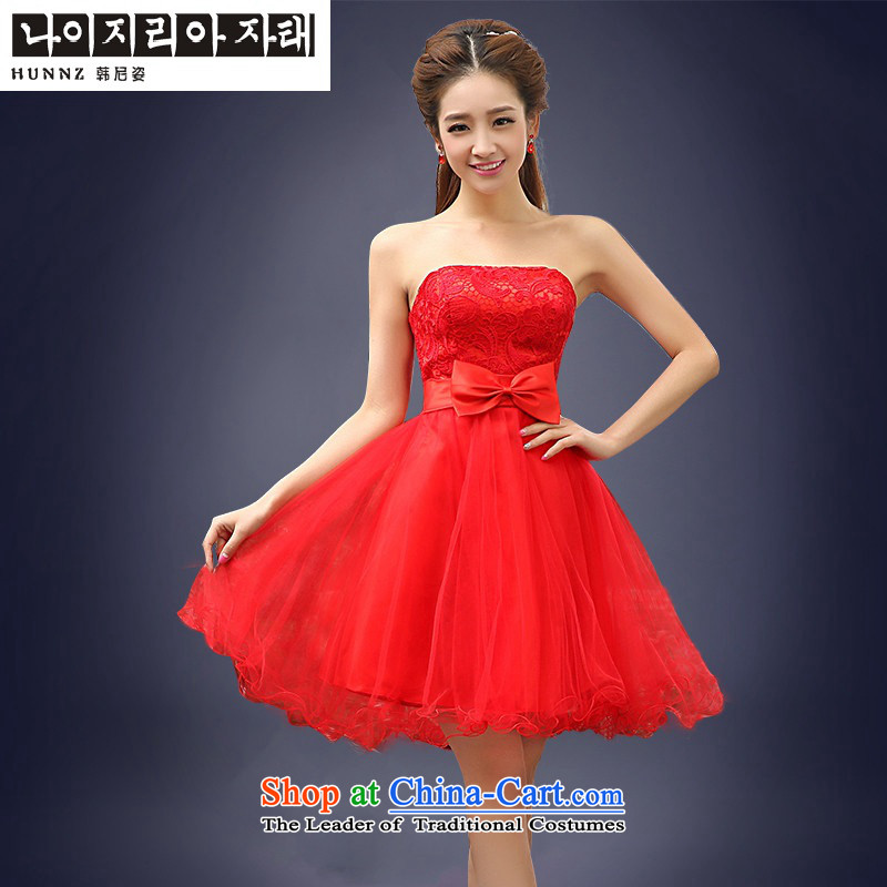 2015 Korean short HANNIZI, straps and chest lace bride wedding dress bows services red聽L