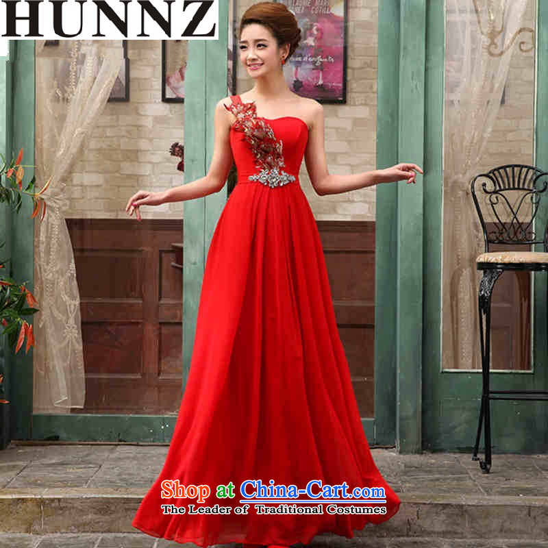 2015 Fashion straps HUNNZ shoulder bride wedding dress banquet evening dresses bows services red red?S