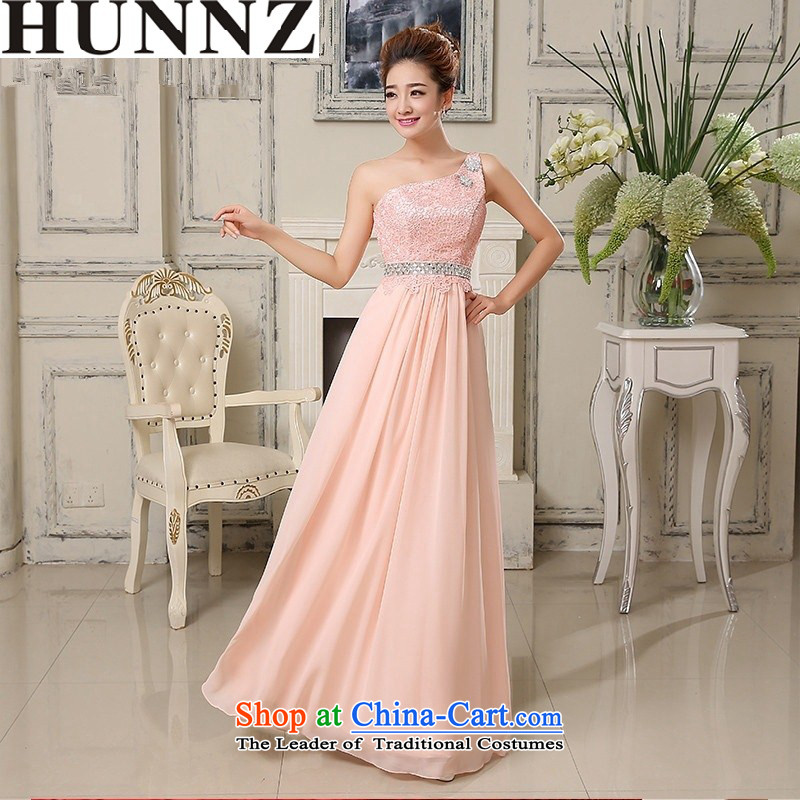 Hunnz 2015 wedding dress bride bridesmaid services stylish long single shoulder banquet evening dresses bows services Pink XL