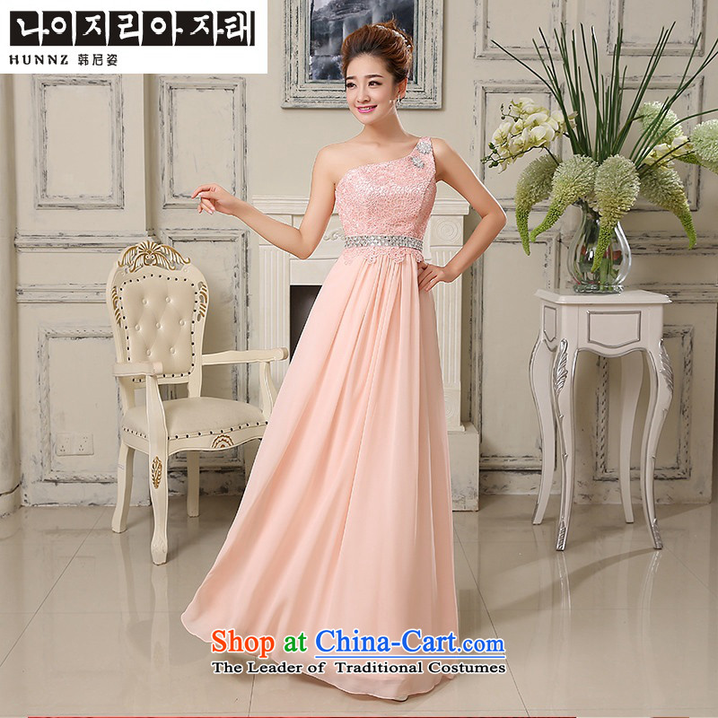 Enjoy the stylish 2015 HANNIZI shoulder bride wedding dress banquet service bridesmaid service bows pink?M