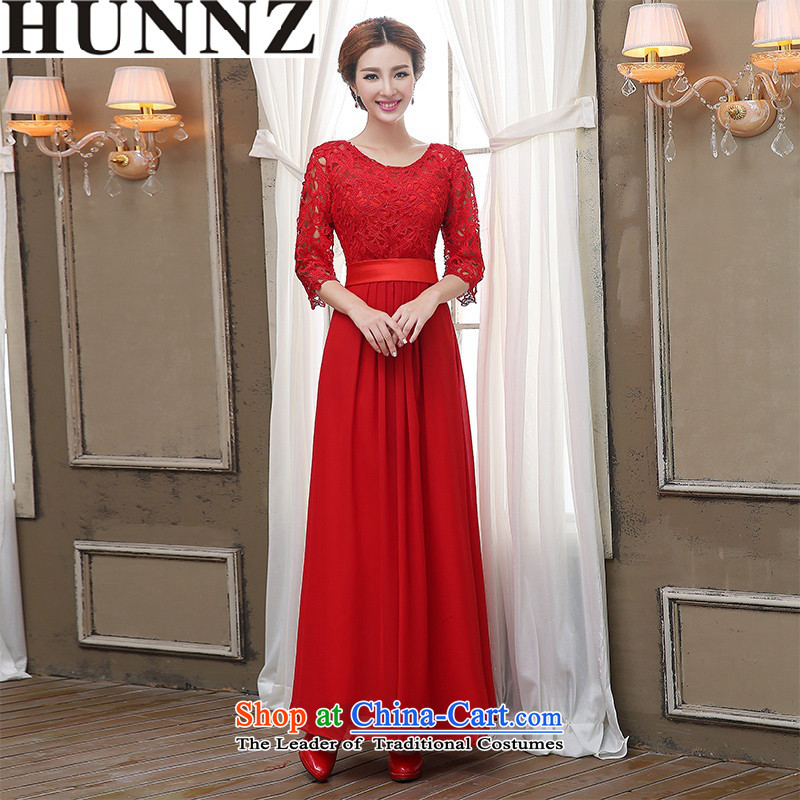 2015 Long dresses HUNNZ Korean-style solid color Sau San bride wedding dress bows services evening dress red?L