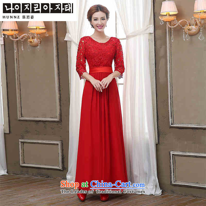2015 Korean Beauty HANNIZI bride wedding banquet set evening dresses bows to red female red S