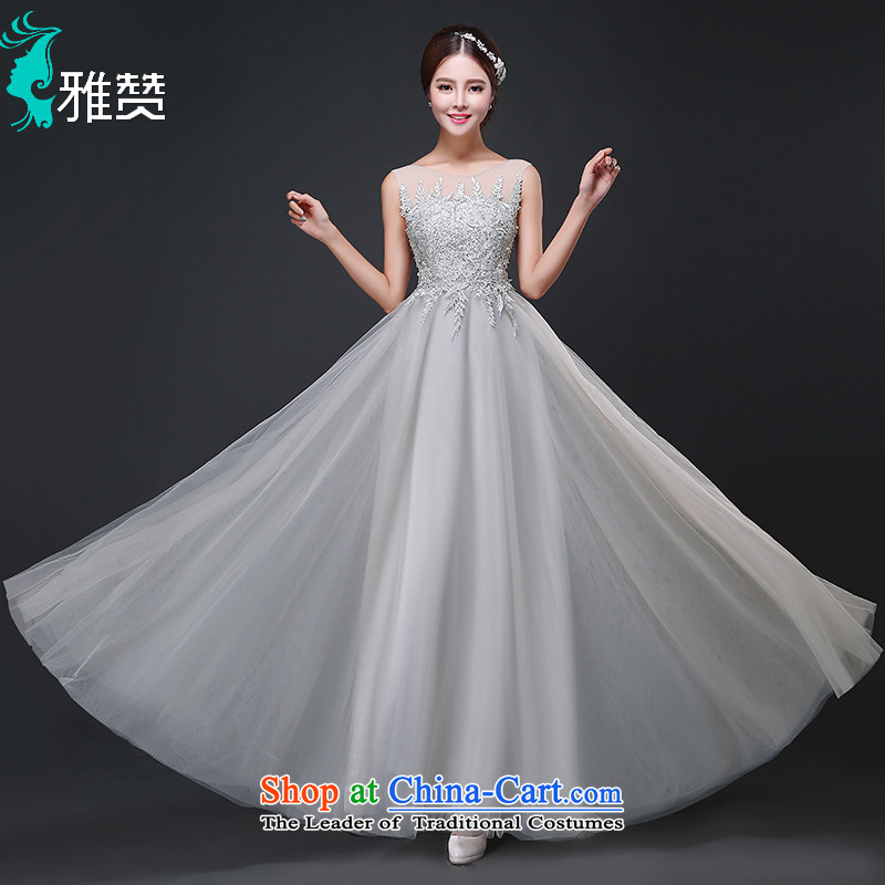 Jacob Chan bridesmaid dress skirt long back fall 2015 shoulders lace Korean performances Dinner Evening Dress Female Light Gray?L