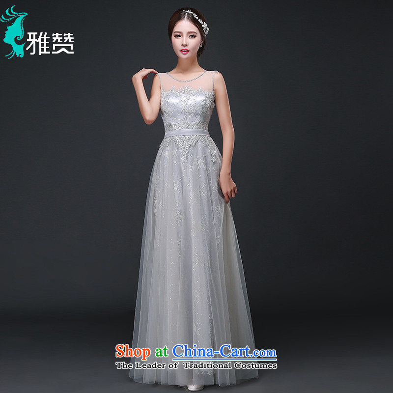 Jacob Chan long evening dress autumn 2015 new lace shoulders bridesmaid services Ms. skirt evening banquet dinner dress Light Gray?L