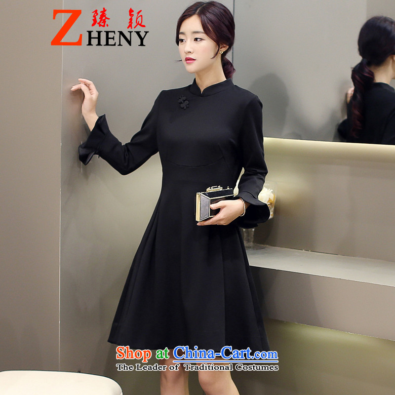 Zen Ying dress dresses autumn 2015 New China wind up large red clip retro collar horn in the Cuff Long skirts black�L