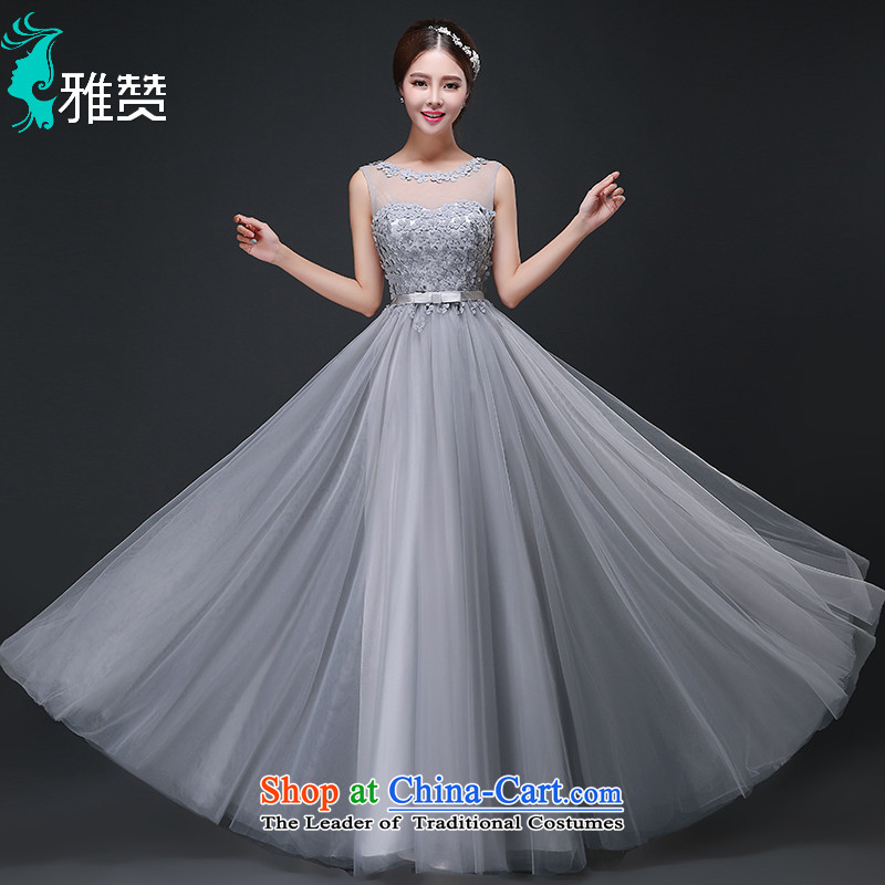 Jacob Chan bridesmaid dress party long shoulders fall 2015 Annual Dinner of the new wedding dress evening light gray female?M