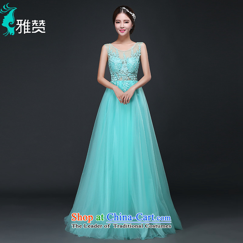 The annual meeting of the Zambia evening dresses Toastmaster of evening dress long 2015 new autumn small trailing bridesmaid service female Lake Blue聽M