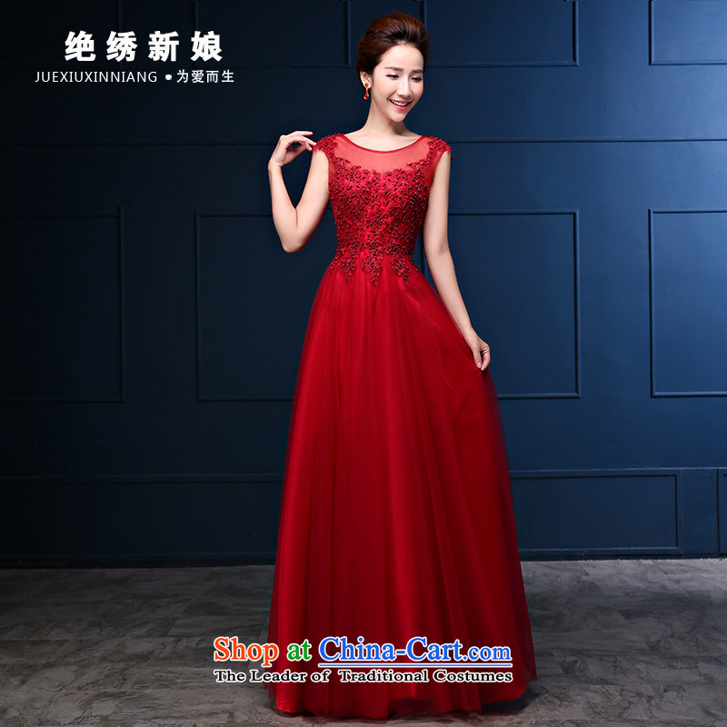 Embroidered is the?new 2015 bride red dress autumn marriages bows Dress Short of serving Sau San long wedding red?S
