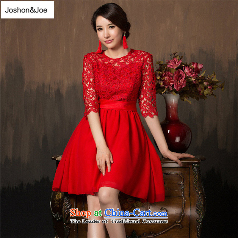 Joshon&joe?wedding dresses in the spring and autumn 2015 cuff red one word marriage bows shoulder lace short of small dress photo color stage?S