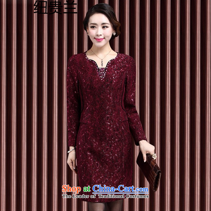 In 2015, the elderly woman fall inside the new dresses wedding dresses with mother middle-aged women's temperament long-sleeved lace dresses Magenta?XL