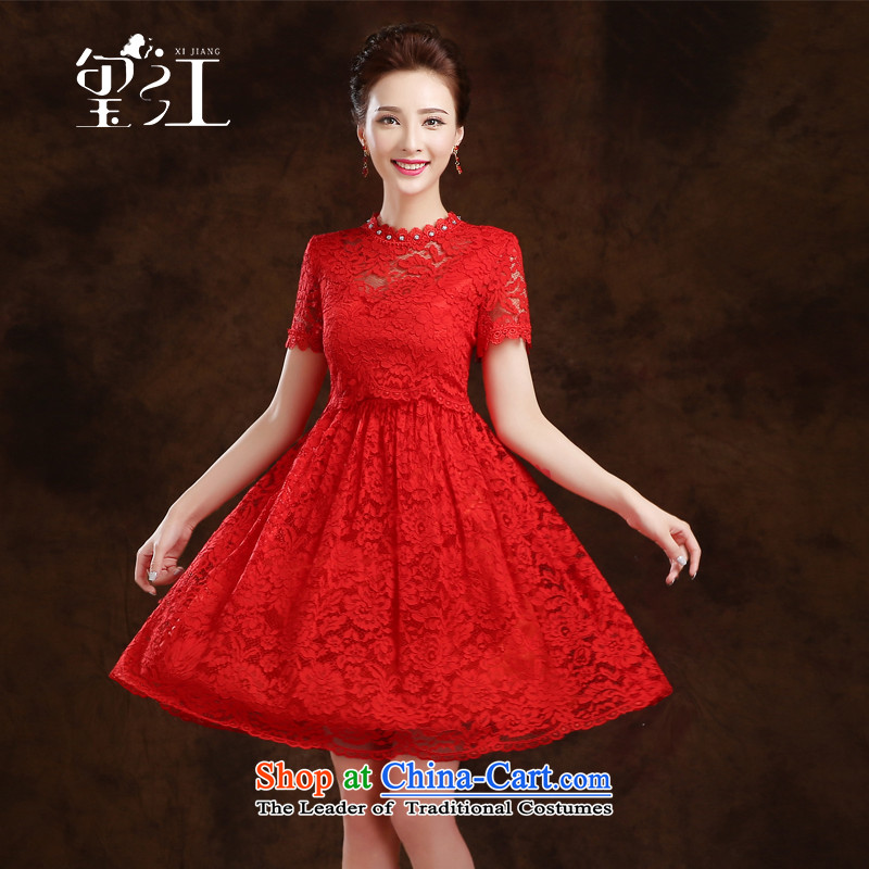 Seal the bride pregnant women serving drink Jiang short, Wedding Dress 2015 autumn and winter wedding dresses red lace evening dress in waist, Female Red?L