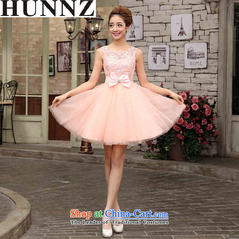 2015 Short HUNNZ sleeveless bon bon skirt won with minimalist bride wedding dress bows services evening dresses pink?L