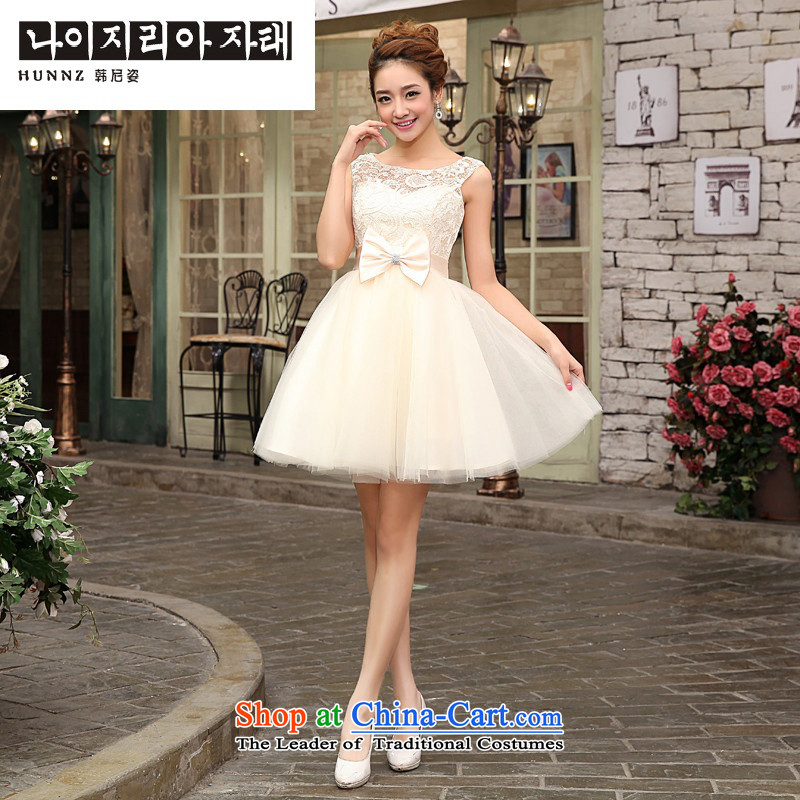 Hannizi 2015 stylish and simple large short of Sau San bride wedding dress banquet dinner dress champagne color?L