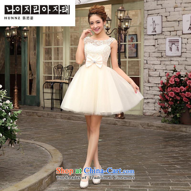 Hannizi 2015 Stylish And Simple Large Short Of Sau San Bride Wedding Dress Banquet Dinner Champagne Color L