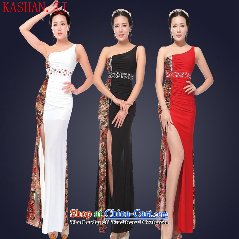 Mano-hwan's 2015 Summer sexy female nightclubs dresses long banquet dinner dress will shoulder?KTV Princess Services Red?XL