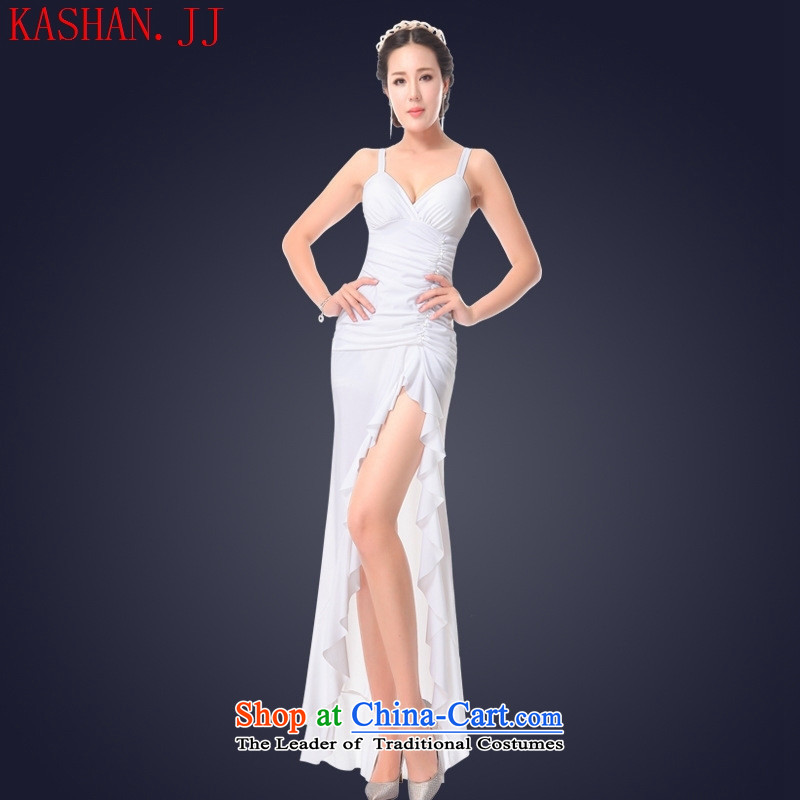 Mano-hwan's 2015 Summer sexy women's dresses long night club evening dresses of the forklift truck long skirt hotel clothing will white?S