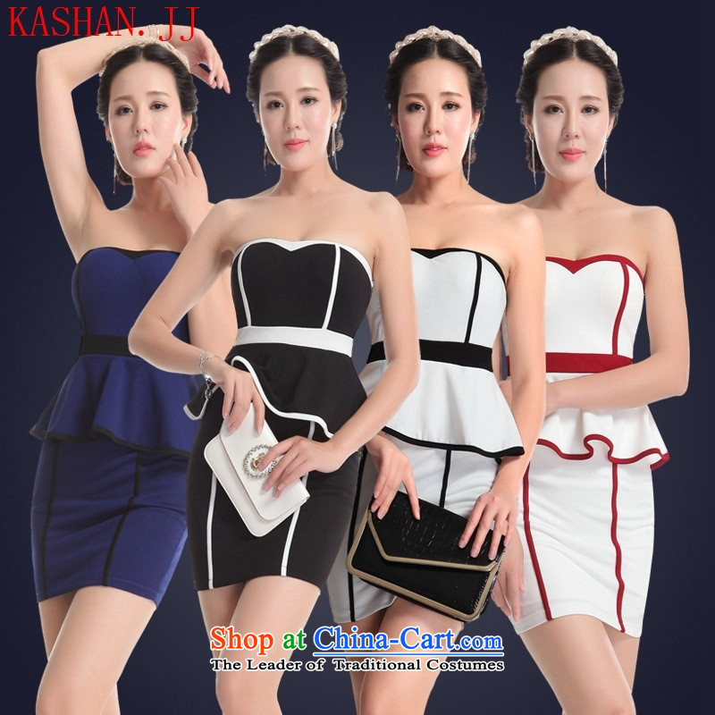 Mano-hwan's 2015 summer night dinner evening dresses shop sexy women's dresses package and short skirts show clothing wholesale black white border聽S