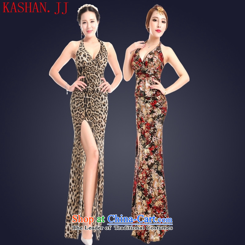 Mano-hwan's summer sexy women's dresses long cheongsam dress nightclubs bows sauna hotel work will leopard?M