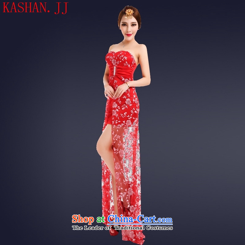 Mano-hwan's 2015 Summer sexy anointed chest dresses long night Female dress short) under the auspices of the ds will banquet RED�M