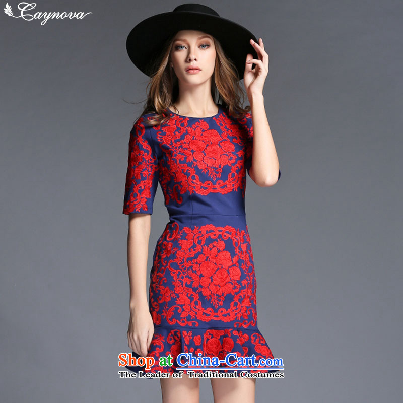 Load New caynova2015 autumn western aristocratic heavy industry embroidery flower crowsfoot Sau San package and dress photo color?XL