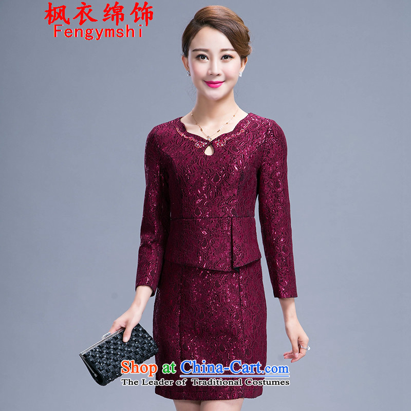 Maple Yi Min International 2015 Autumn load new women's body graphics thin 9 decorated very cuff lace MOM pack dresses 991 wine red�XXL