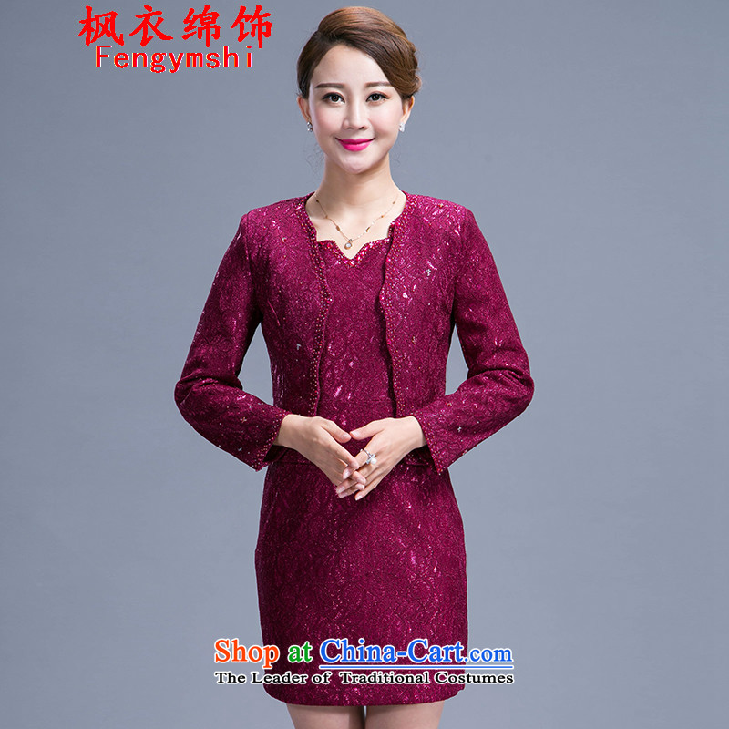 Maple Yi Min International 2015 new autumn replacing wedding dresses mother temperament Sau San two kits 988 PURPLE聽L