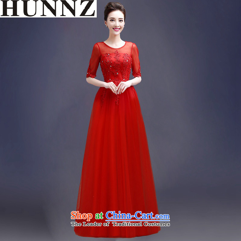 2015 Short of HUNNZ straps solid color word shoulder bride wedding dress bows services banquet evening dresses red long?XXL