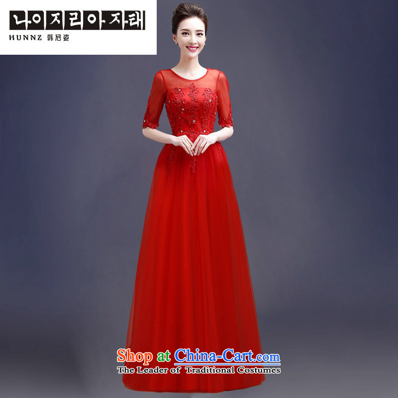 Hannizi 2015 stylish and simple large Sau San tie new bride wedding dress bows to red long?S