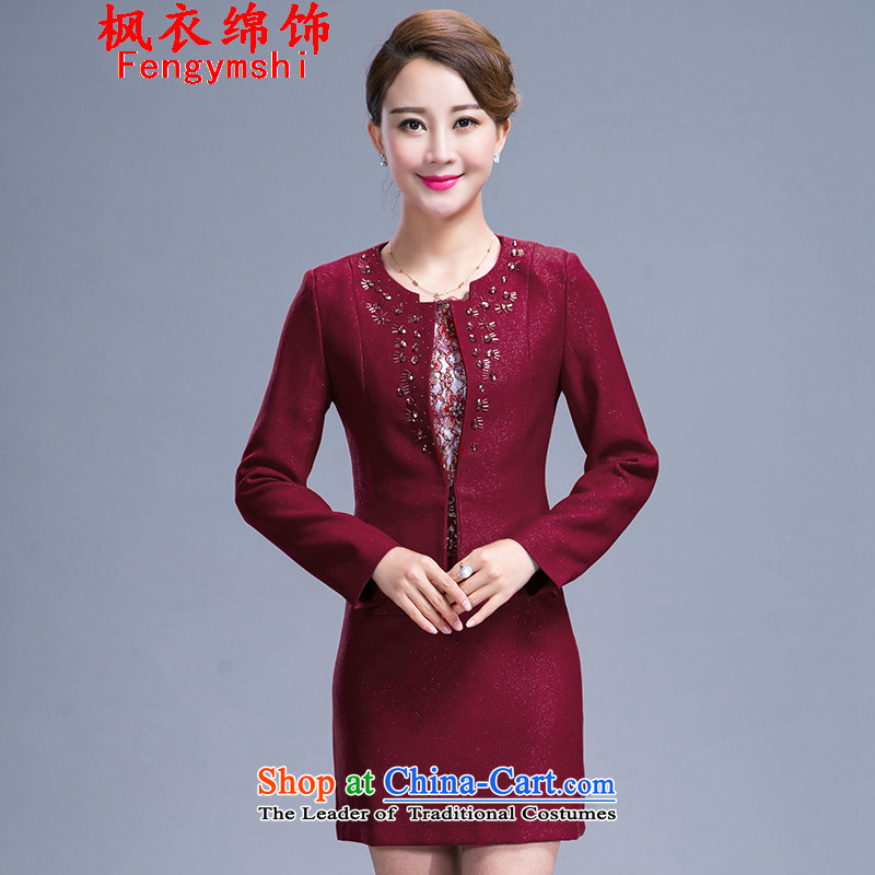 The parking meters by 2015 autumn the new Flower, large wedding dress mother with two-piece dresses 986 red?XXL