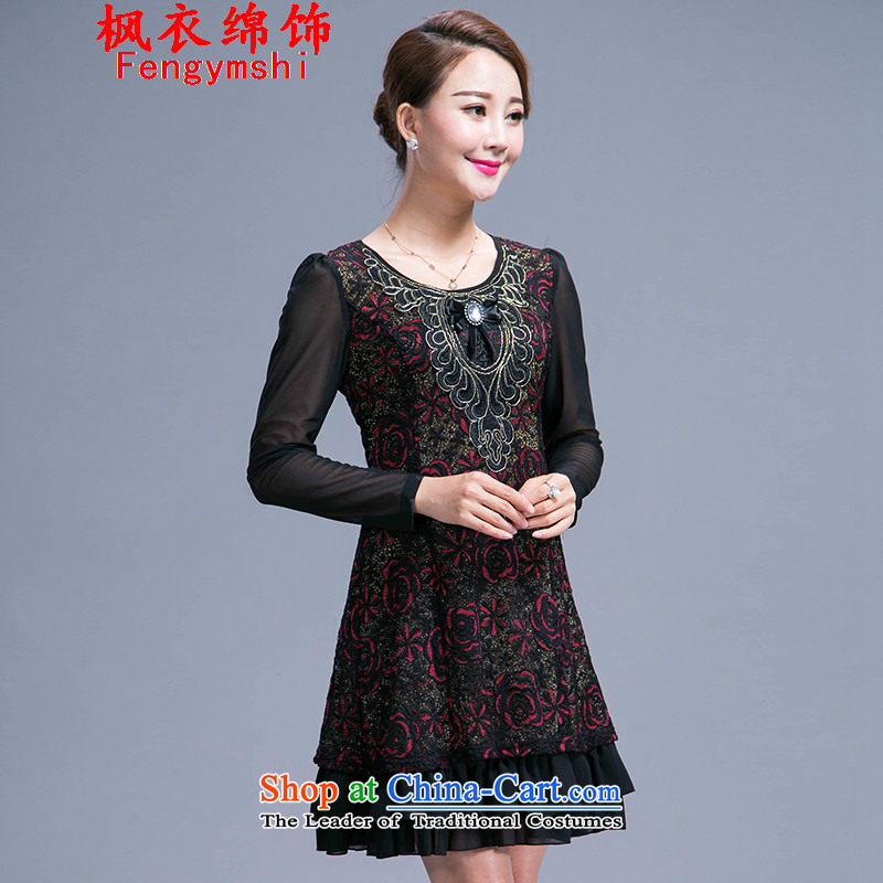 The parking meters by 2015 new large flower MOM pack autumn loaded code dresses in long long-sleeved 989 red�XXL