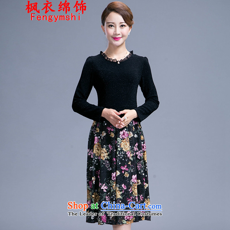 The parking meters by 2015 autumn the new Flower of large Korean mother load Sau San temperament dresses in long 985 Black�4XL