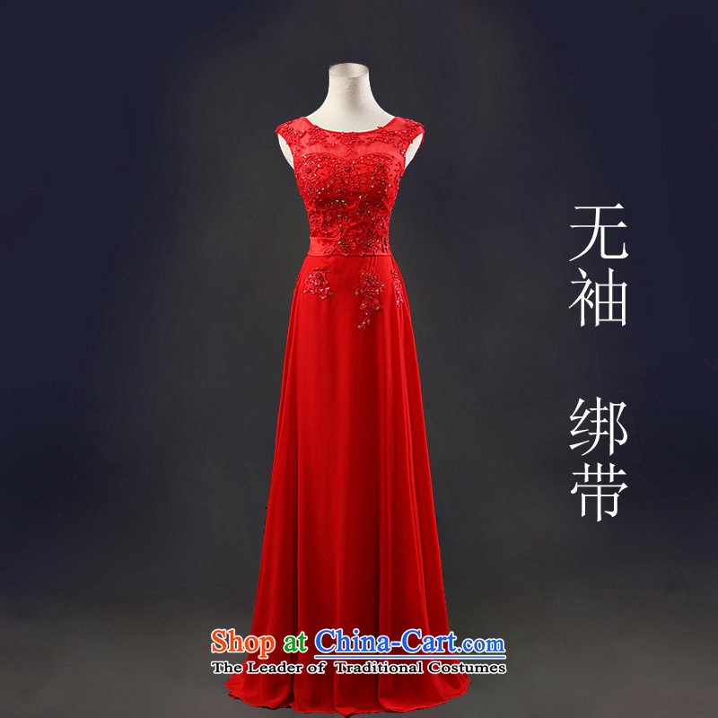2015 Long dresses HUNNZ elegant pure color is simple and stylish bride wedding dress banquet evening dresses red sleeveless?XL