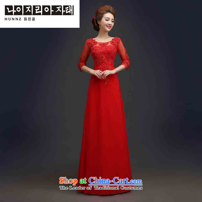 Hannizi 2015 Chic simplicity with elegant brides Sau San wedding dress bows services in evening dress red sleeved�XXL