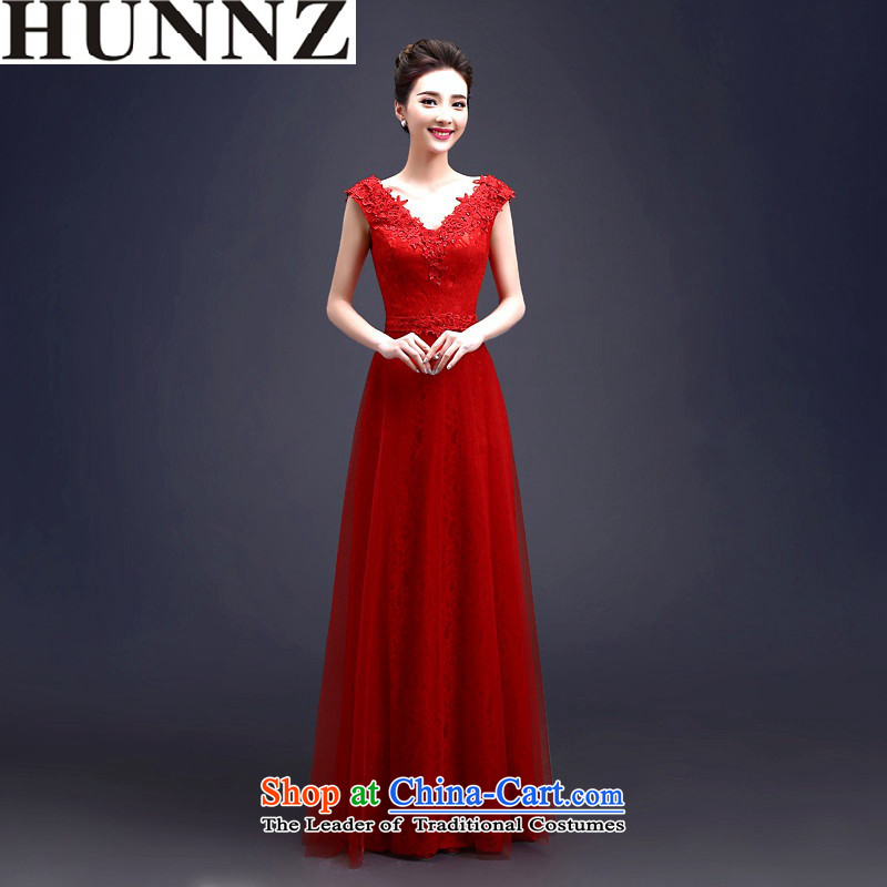 2015 Long HUNNZ sleeveless elegant strap red bride wedding dress bridesmaid bows services RED M SERVICES