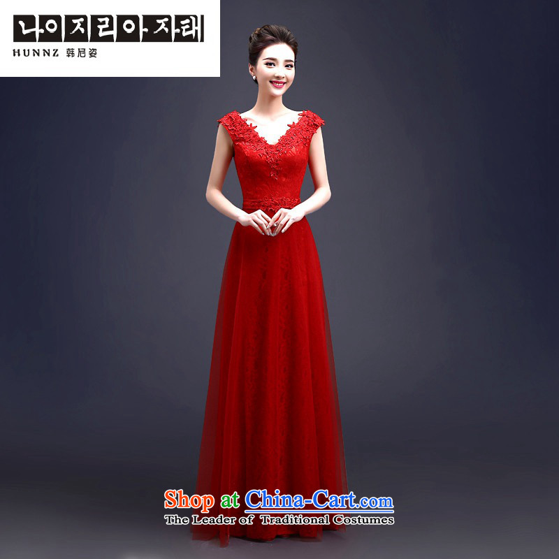 Hannizi 2015 stylish and simple bride wedding dress elegant banquet dress long serving drink red M