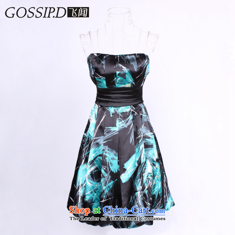 Flying about special offers retro GOSSIP.D short, banquet and chest small dress suit skirt Annual Dinner guests will find all evening dresses 1106 blue and green_black聽L