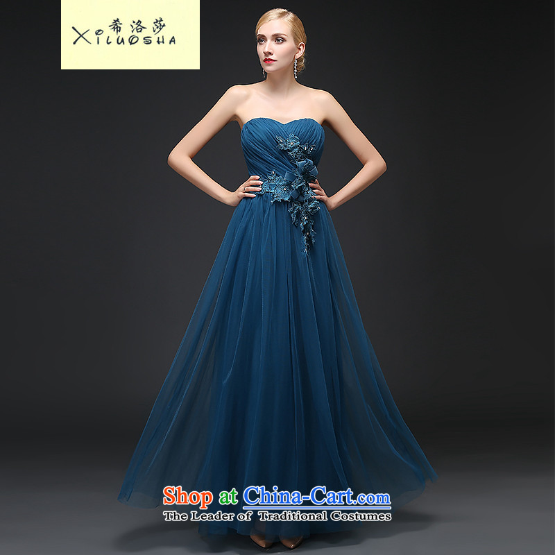 Hillo Lisa (XILUOSHA) banquet evening dresses 2015 new autumn long gown Bridal Services stylish wedding dresses bows and chest evening Peacock Blue?XXL
