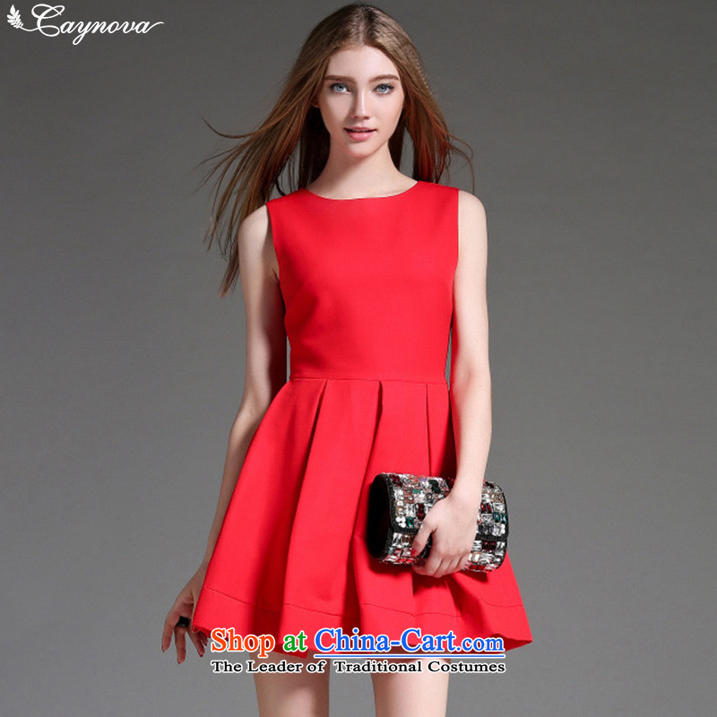 Load New caynova2015 autumn western stylish and simple round-neck collar Sau San video thin red dress�XL