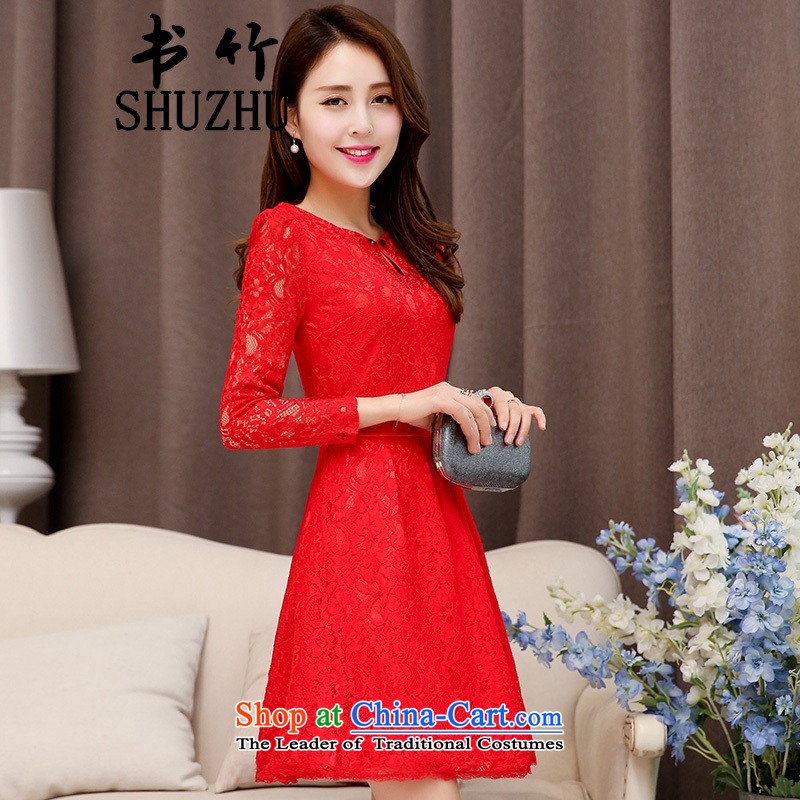 2015 new red long marriages wedding dresses evening dresses female bows to the skirt red聽XXL