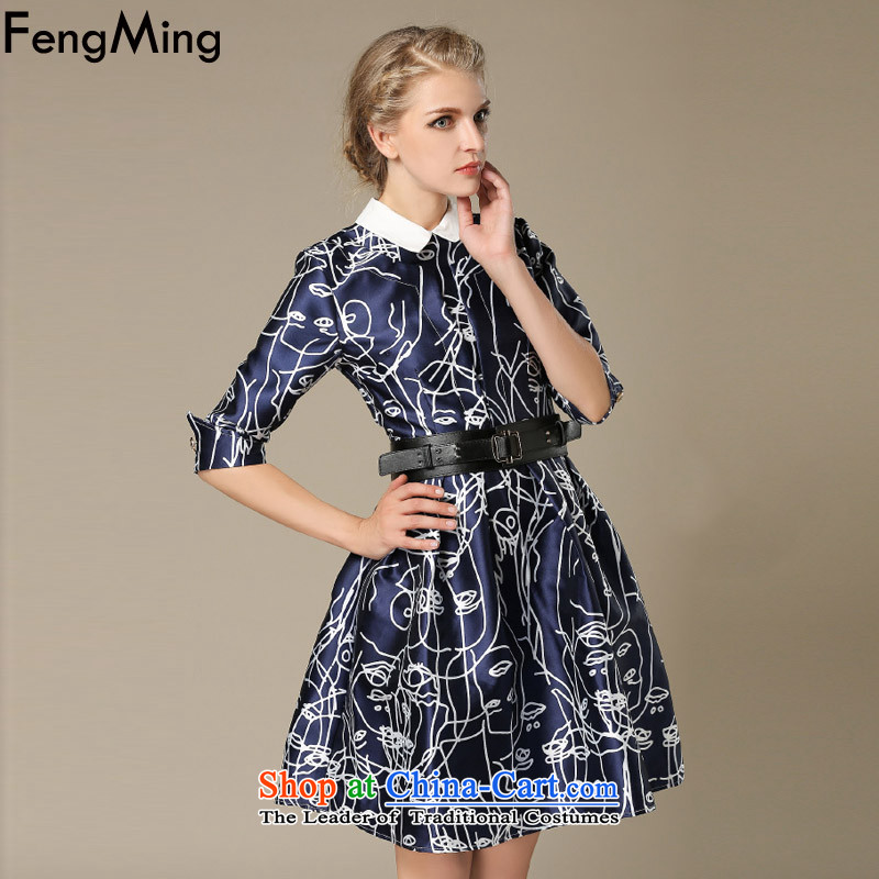 Hsbc Holdings plc Ming dress skirt female�autumn 2015 Western aristocratic temperament retro dolls for Sau San large abstract dress photo color�M