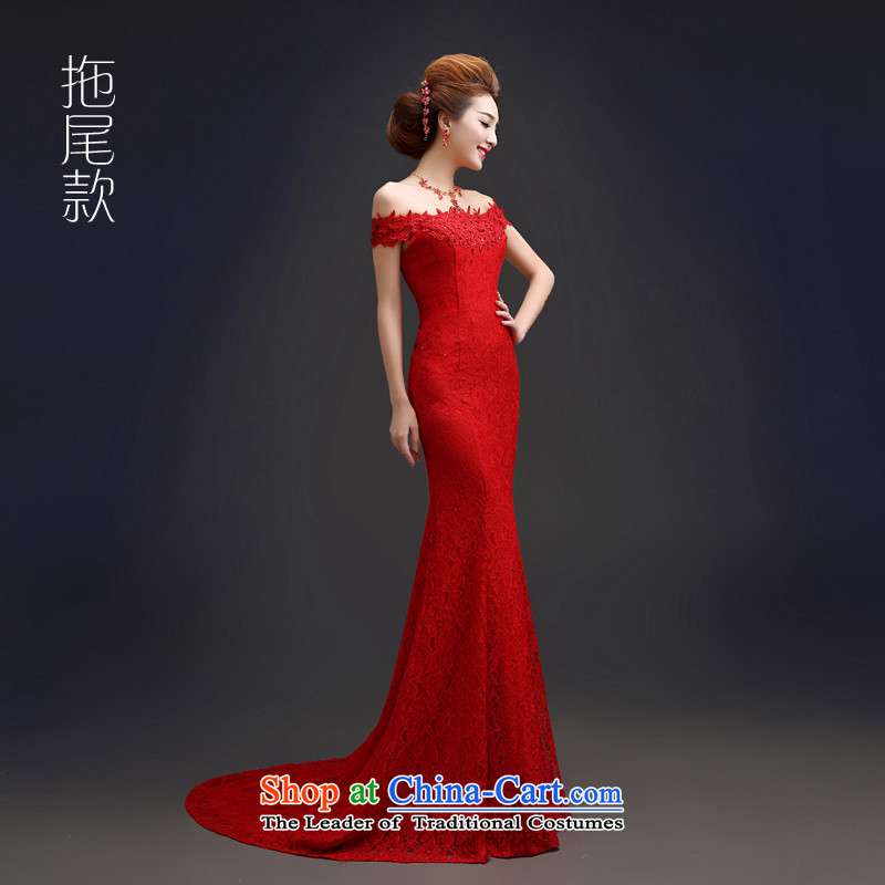 2015 Long dresses HUNNZ tail of a field of solid color shoulder bride wedding dress stylish banquet dinner dress red tail�XL