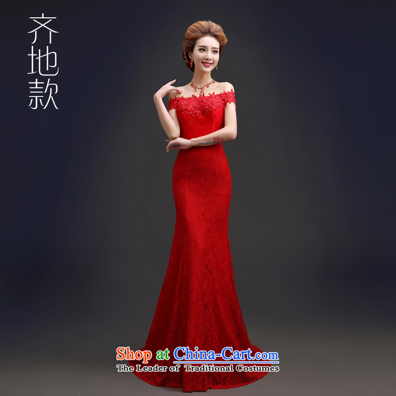 Hannizi 2015 stylish and simple word   bride dress shoulder tail banquet evening dresses to align the red�S