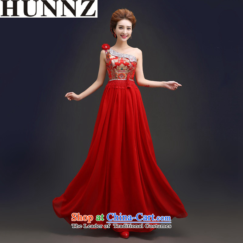 2015 Long dresses HUNNZ stylish bride evening dress the wedding-dress red dress shoulder red聽S