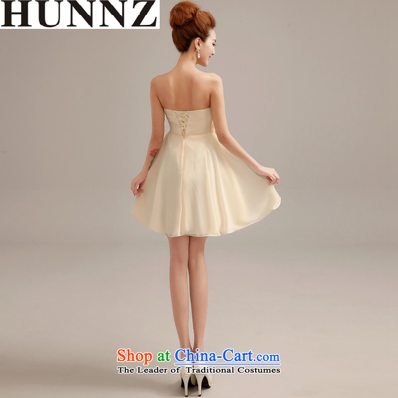 2015 Sau San large stylish HUNNZ banquet Dress Short of code Korean brides bows and Chest Service champagne color�XL