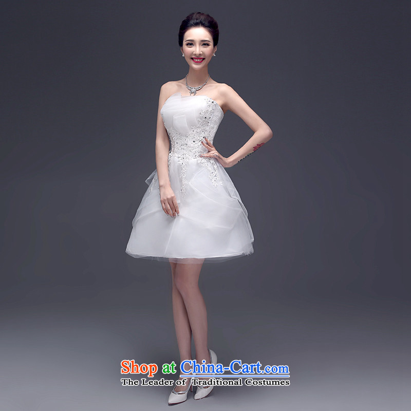 2015 Short of dresses HUNNZ straps Korean brides wedding dress wiping the chest evening dresses bows Services White?XL